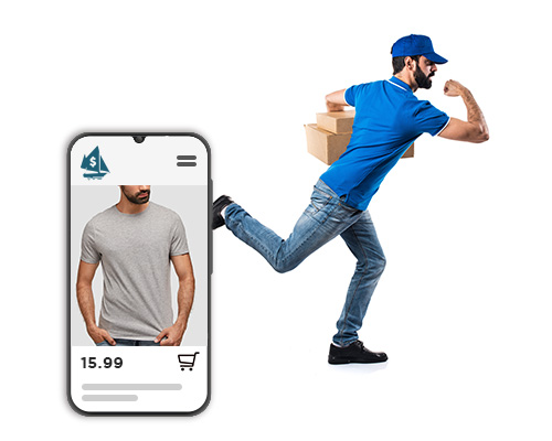 Lifeboat Store Preview on mobile device and delivery person